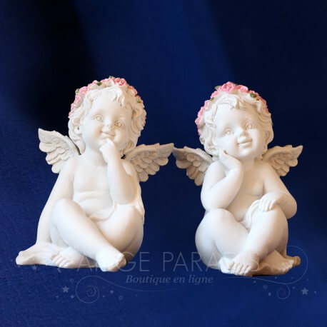 2 STATUETTES ANGES JOIE SOURIANT