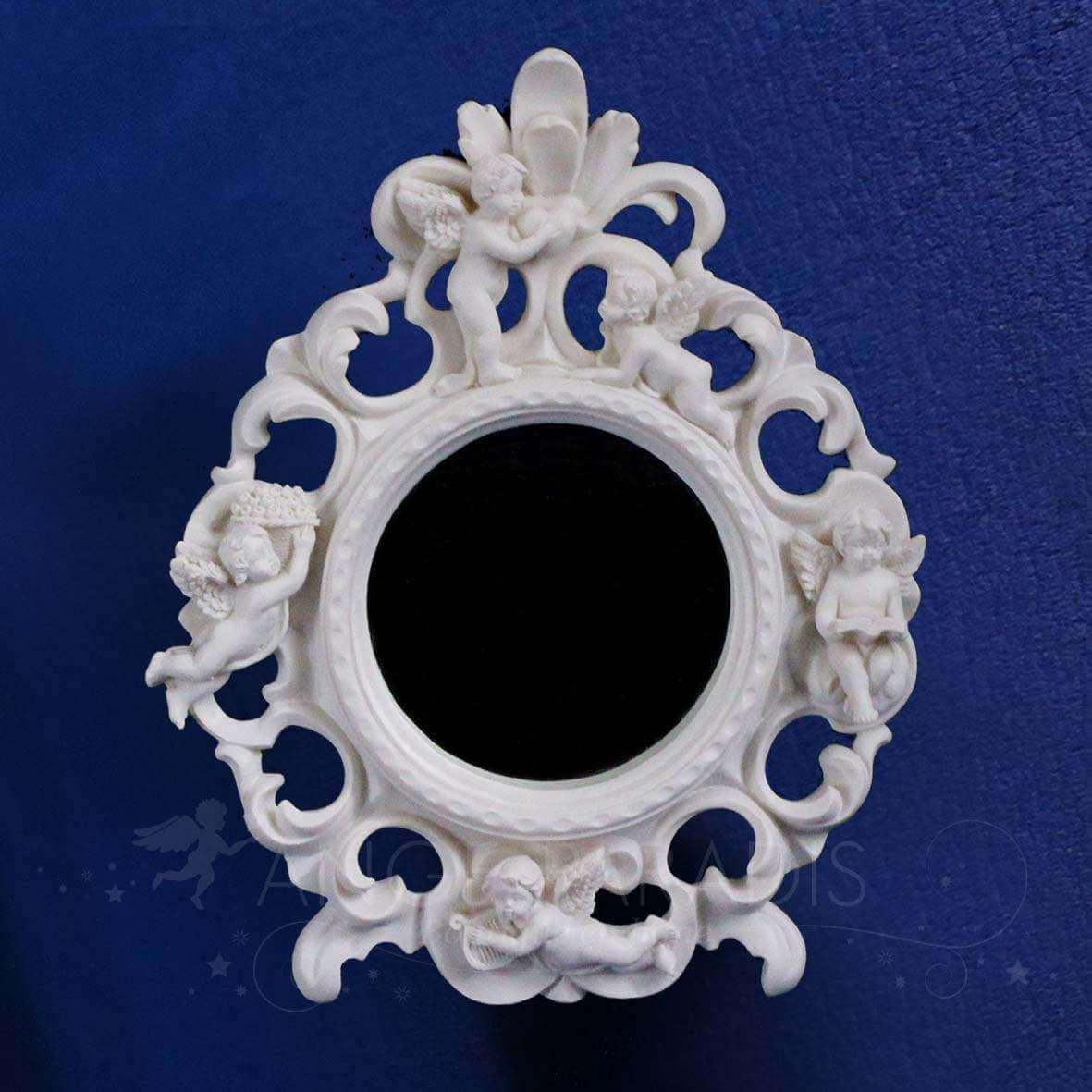 Miroir ange rond d coration avec anges boutique o for Miroir un paradis