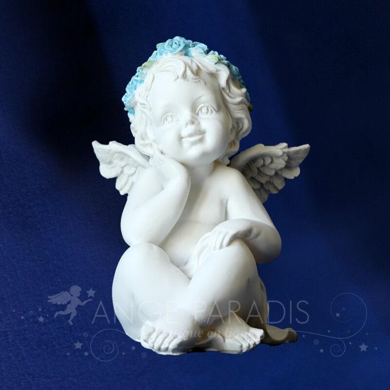 Statuette ange bleu d co anges bapteme garcon accessoires anges - Statue d ange pour exterieur ...