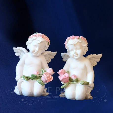 2 STATUETTES ANGES CHERUBINS AMOUR