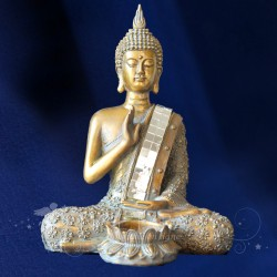BOUGEOIR BOUDDHA 21CM OR ET BRUN