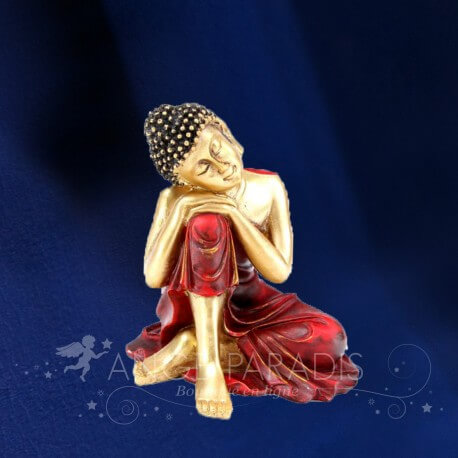 STATUETTE BOUDDHA THAI ROUGE ET OR
