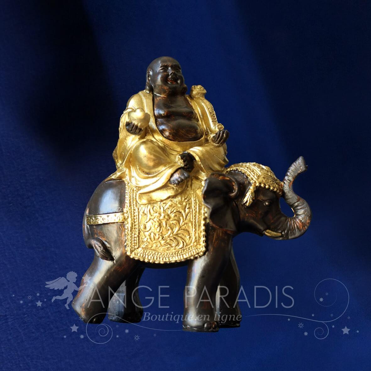 FIGURINE BOUDDHA OR AVEC ELEPHANT