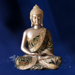 STATUE BOUDDHA SERENITE BRONZE OR 30 CM