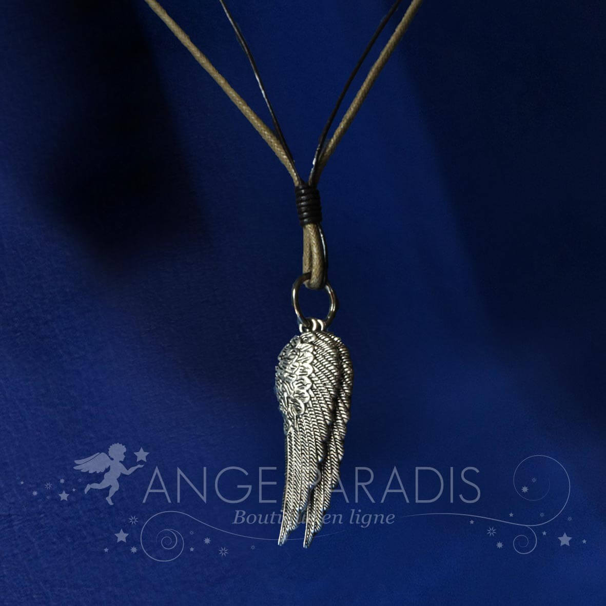 COLLIER CUIR AILES D'ANGES