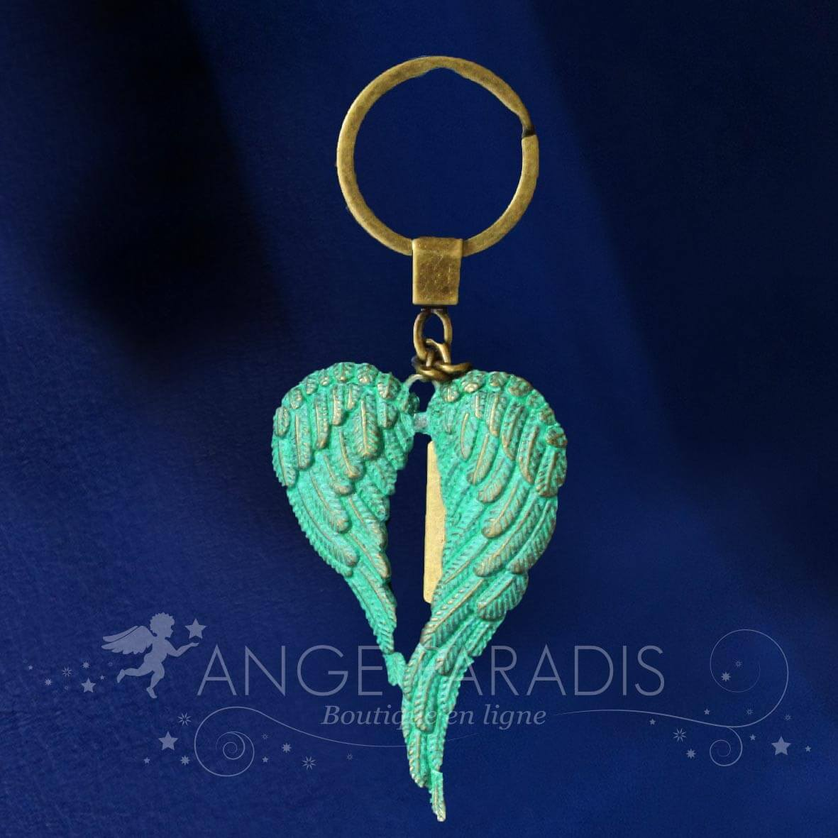PORTE CLE AILES ANGE TURQUOISE