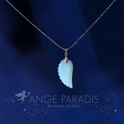 COLLIER AILE ANGE PIERRE BLANCHE