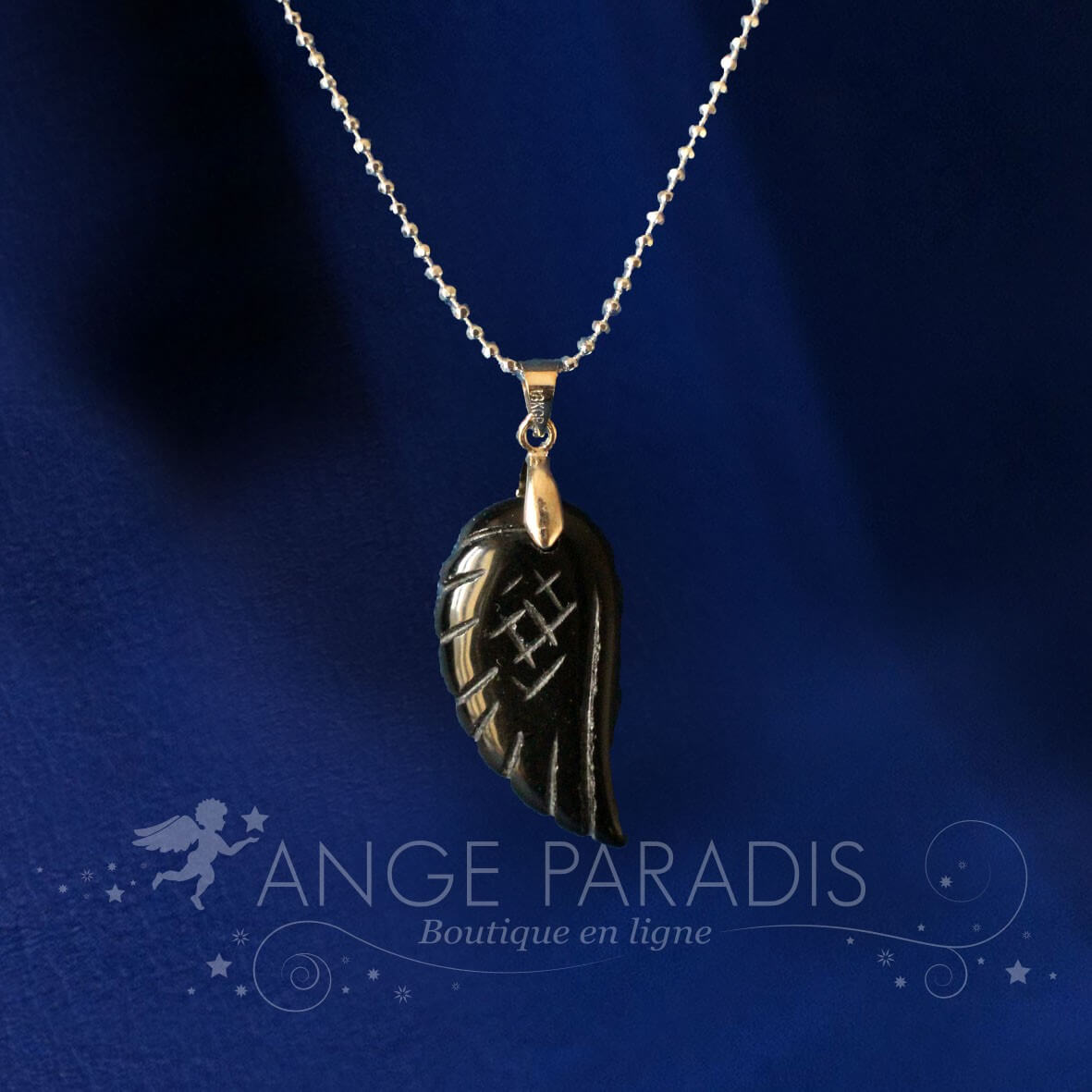 COLLIER AILE ANGE PIERRE OBSIDIAN