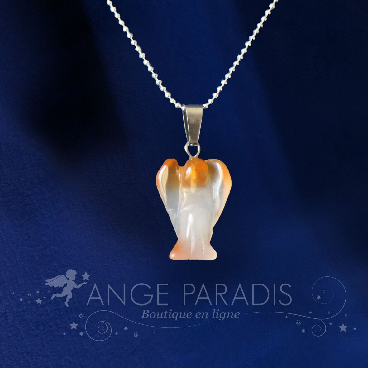 COLLIER ANGE GARDIEN PIERRE QUARTZ ORANGE