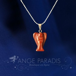 COLLIER ANGE GARDIEN PIERRE ROUGE