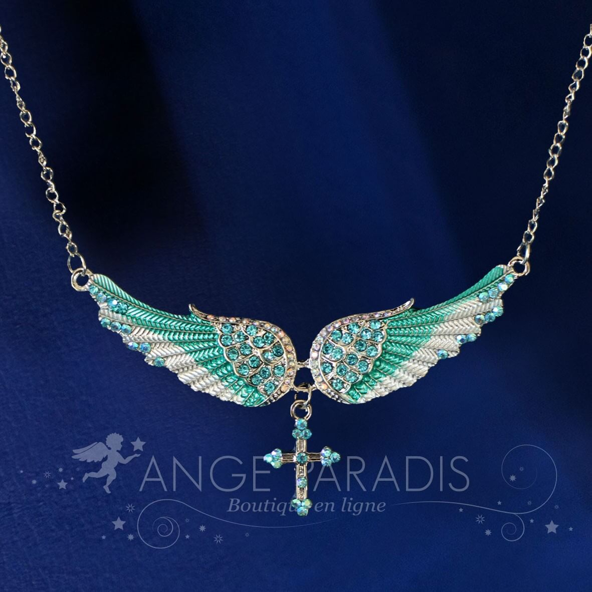 COLLIER AILES ANGE CELESTE TURQUOISE