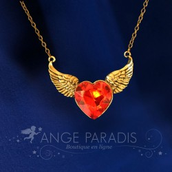 COLLIER AILES D'ANGE COEUR ROUGE GOLD