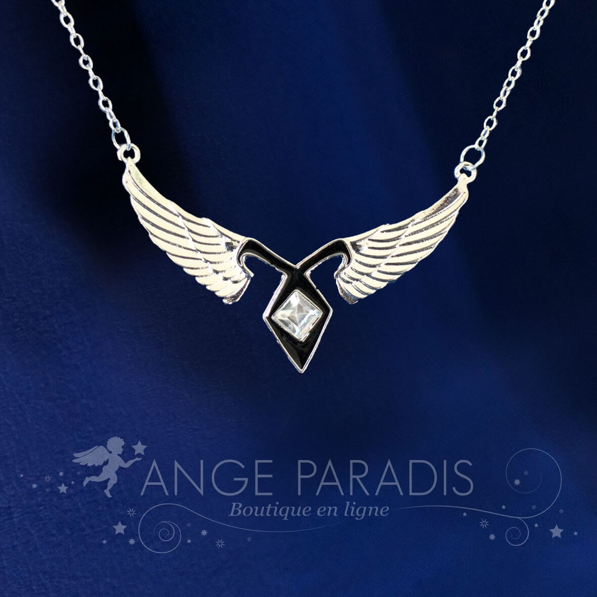 COLLIER AILES ANGE ROCK STYLE METAL