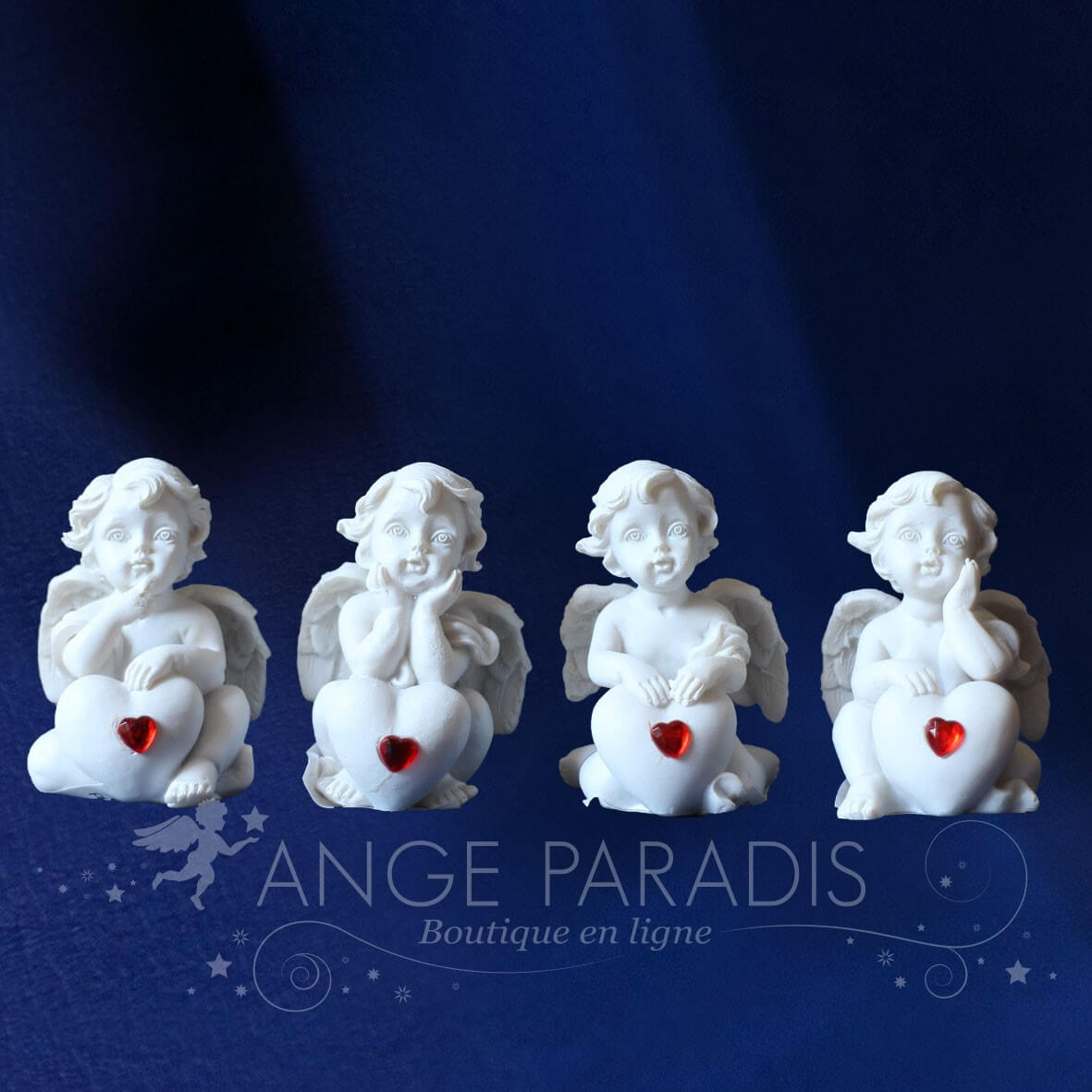 4 ANGELOTS AVEC COEUR ROUGE
