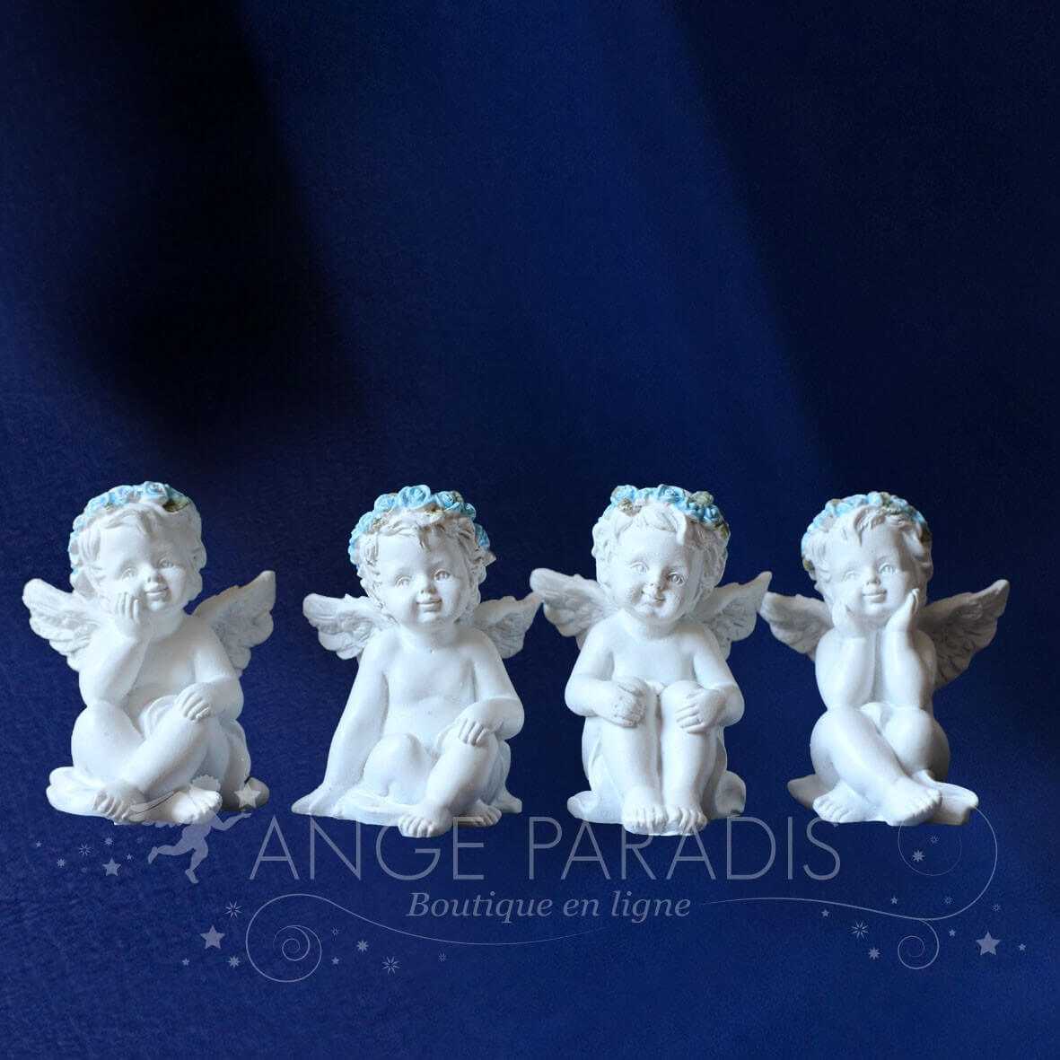 FIGURINES ANGES BLEUS x4
