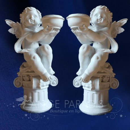 BOUGEOIRS ANGES COLONNES x2