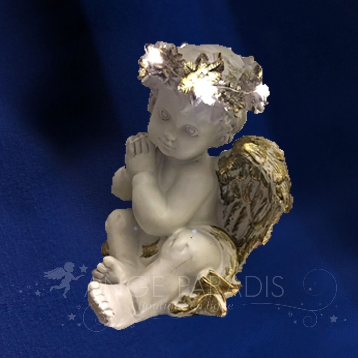 STATUETTE D'ANGE LED TENDRESSE 23CM