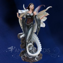 STATUETTE FEE DRAGON BLANC 32cm