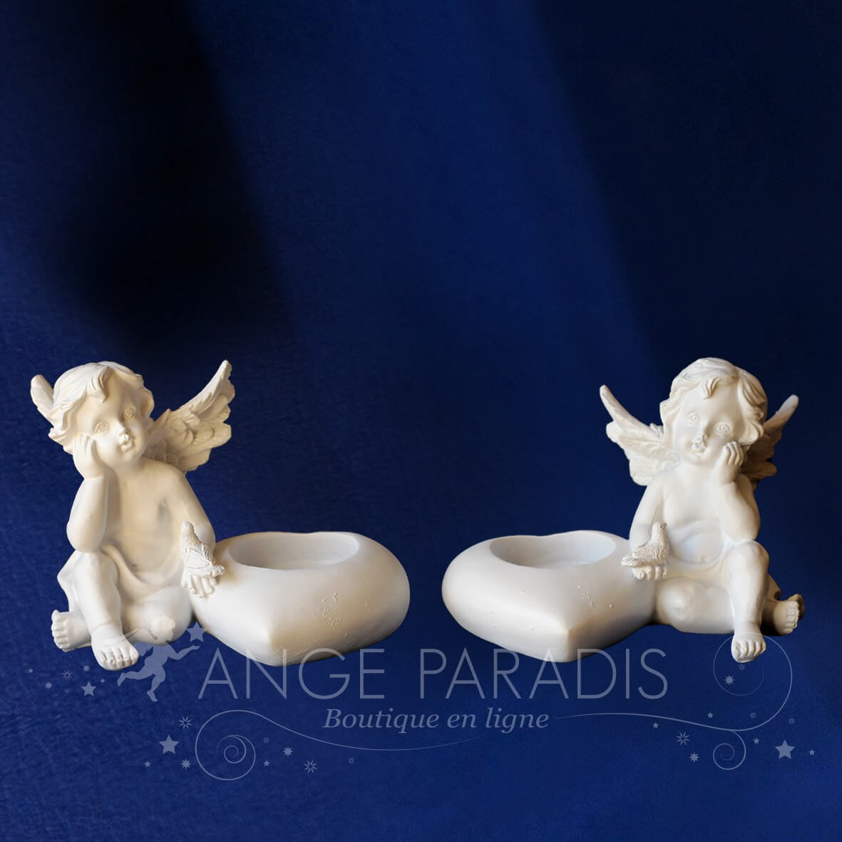 2 BOUGEOIRS ANGES ROMANTIQUES
