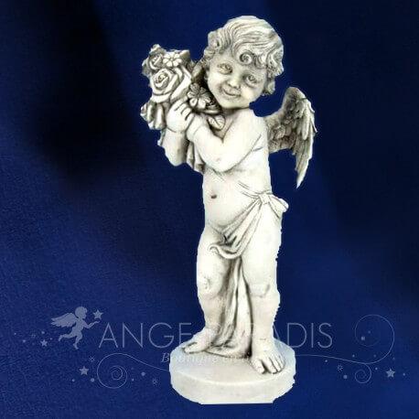 ANGE statue d un ange debout avec un panier de fleurs en pierre
