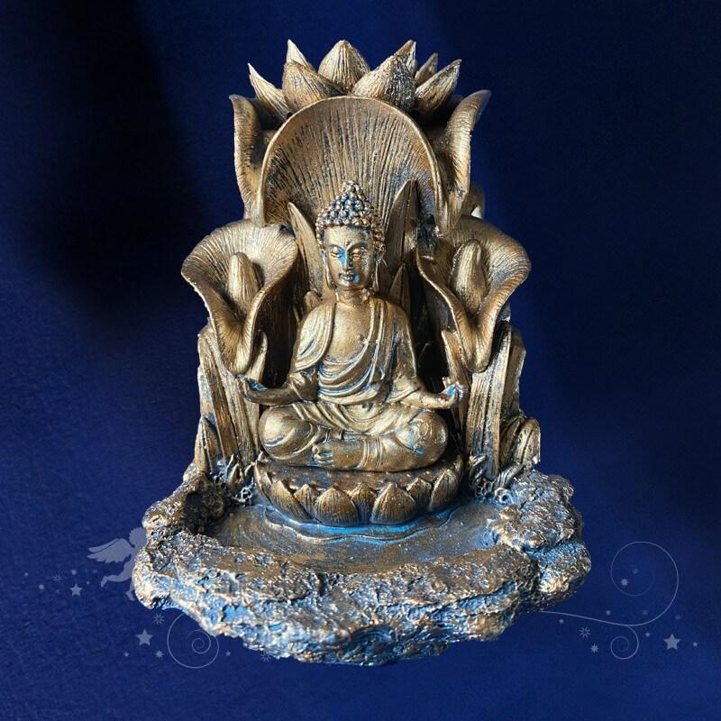 Porte Encens Bouddha Or sombre à reflux