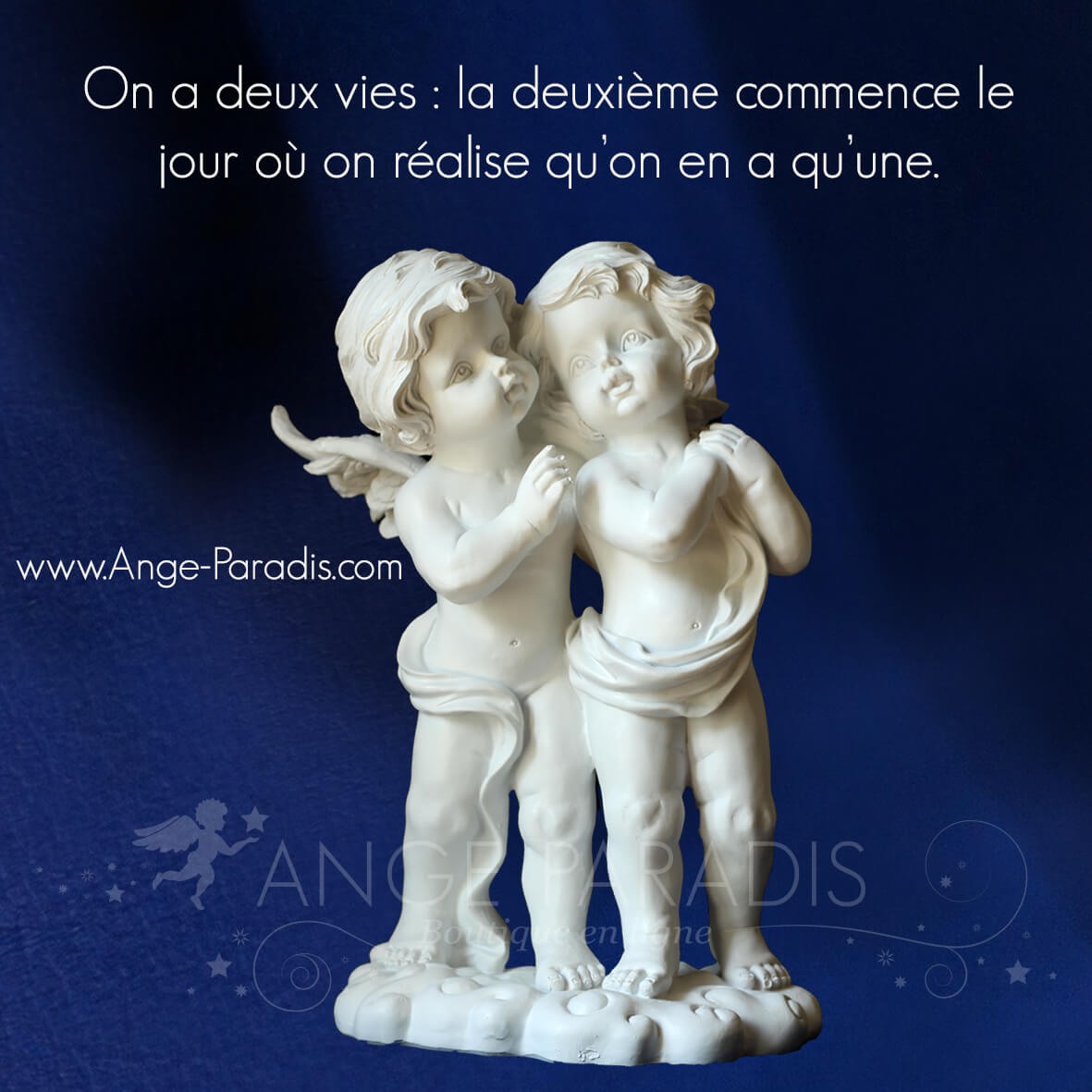 anges en platre, cherubins clancs